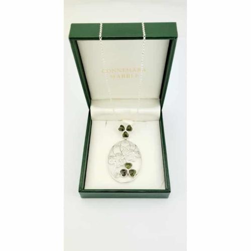 Connemara Marble Sterling Silver Shamrock Necklace
