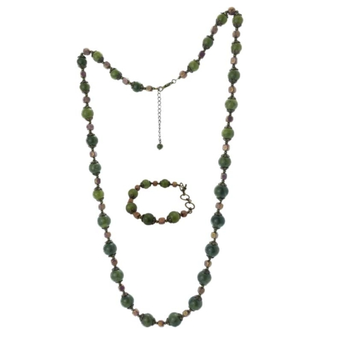 Connemara Marble Vintage 32″ Necklace with Bracelet